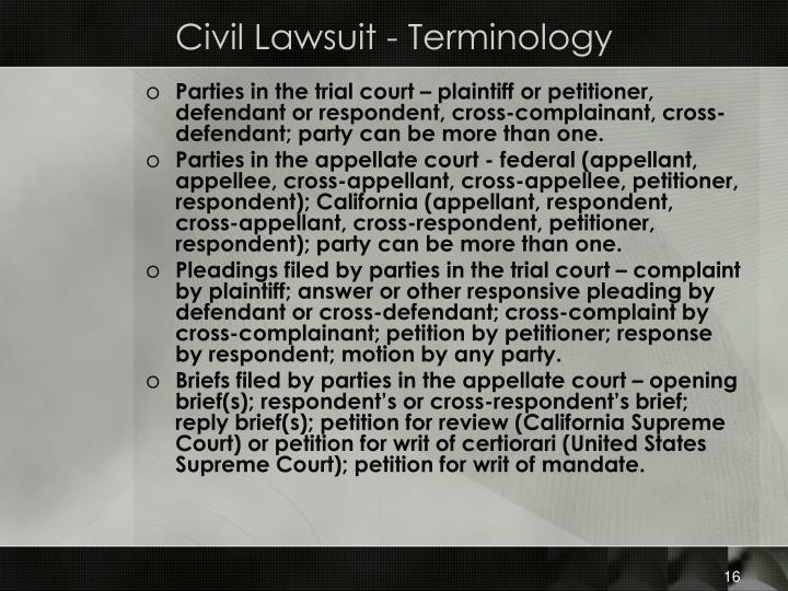 Civil Lawsuit - Terminology