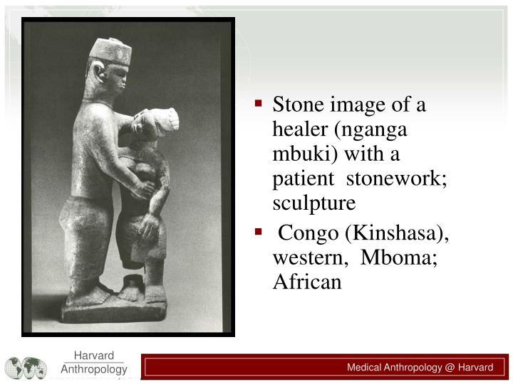 Stone image of a healer (nganga mbuki) with a patient