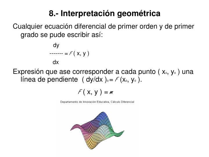 8.- Interpretación geométrica