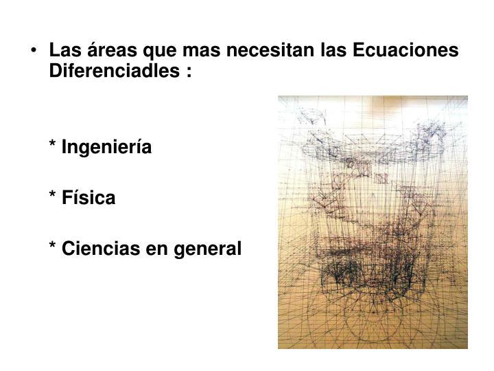 Las áreas que mas necesitan las Ecuaciones Diferenciadles :