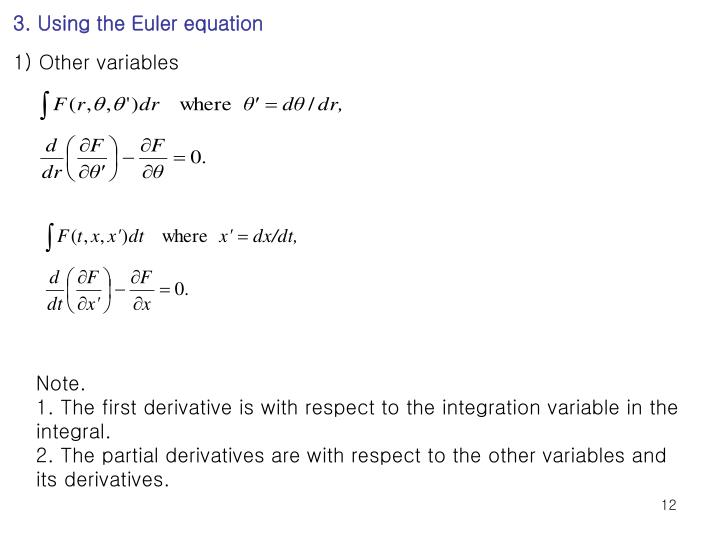 3. Using the Euler equation
