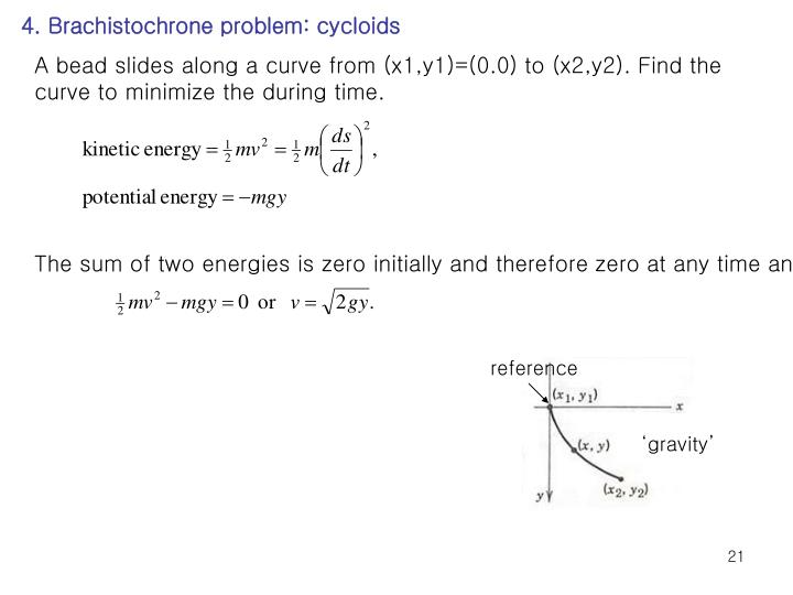 4. Brachistochrone problem: cycloids