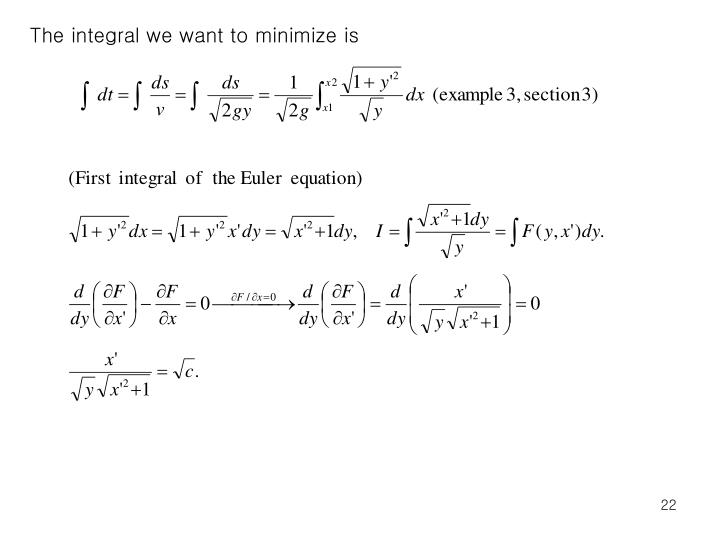 The integral we want to minimize is