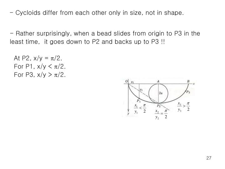 - Cycloids differ from each other only in size, not in shape.