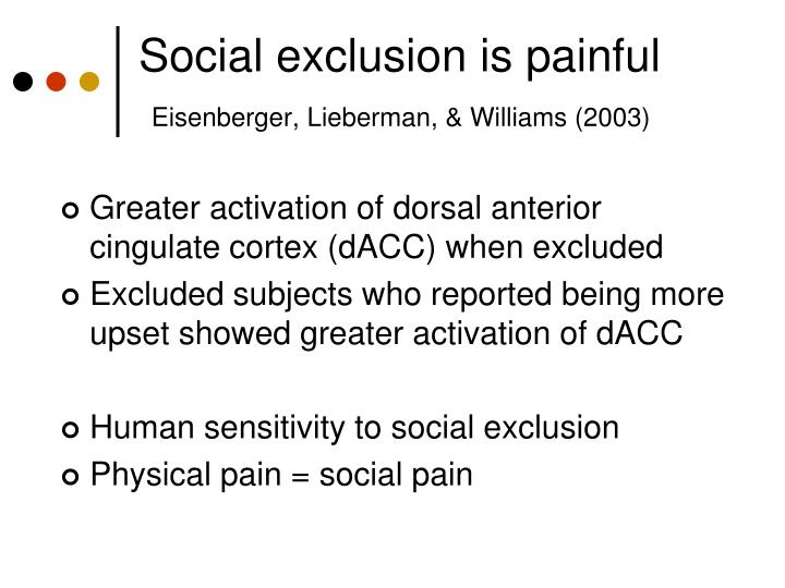 Social exclusion is painful