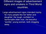 different images of advertisement signs and smokers in third world countries