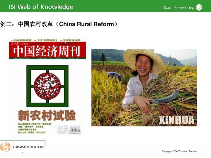 例二:中国农村改革(