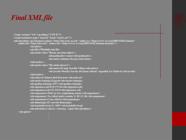 Final XML file