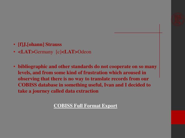 [f]J.[ohann] Strauss