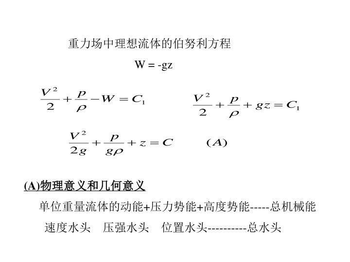 重力场中理想流体的伯努利方程