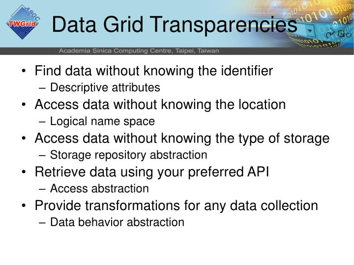 Data Grid Transparencies