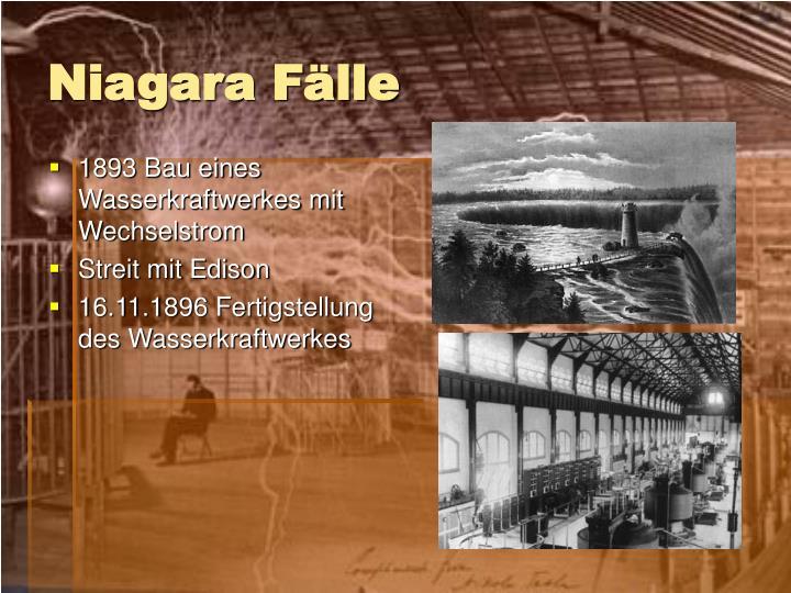 1893 Bau eines Wasserkraftwerkes mit Wechselstrom