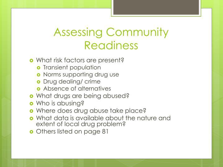 Assessing Community Readiness