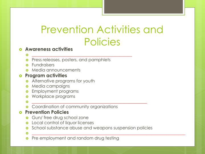 Prevention Activities and Policies