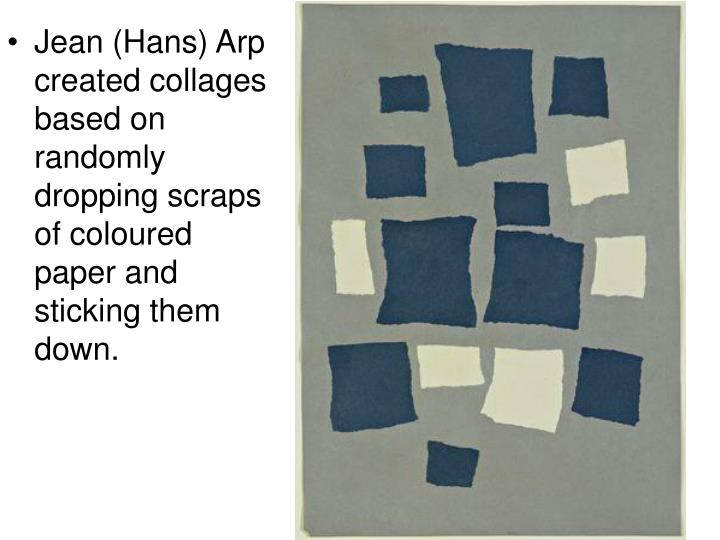 Jean (Hans) Arp created collages based on randomly dropping scraps of coloured paper and sticking th...