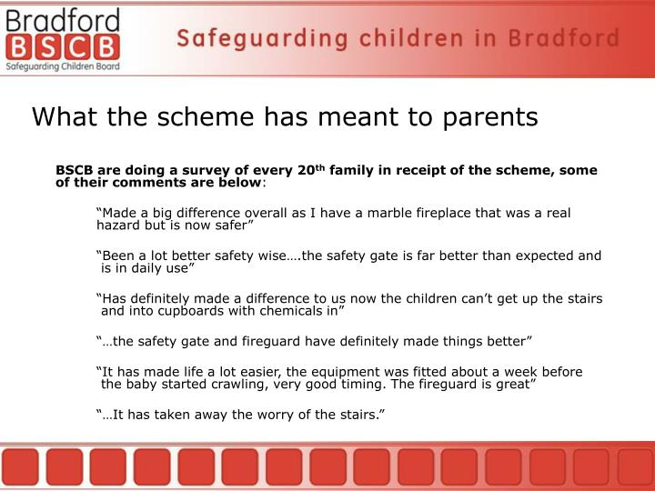 What the scheme has meant to parents