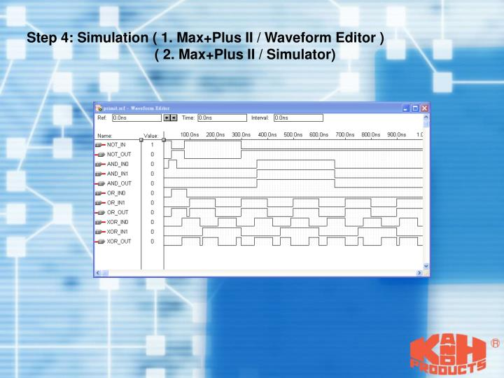 Step 4: Simulation ( 1. Max+Plus II / Waveform Editor )