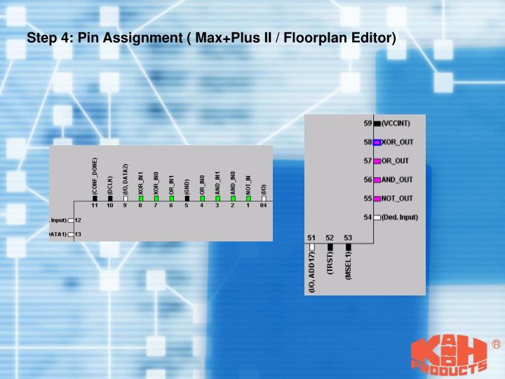 Step 4: Pin Assignment ( Max+Plus II / Floorplan Editor)