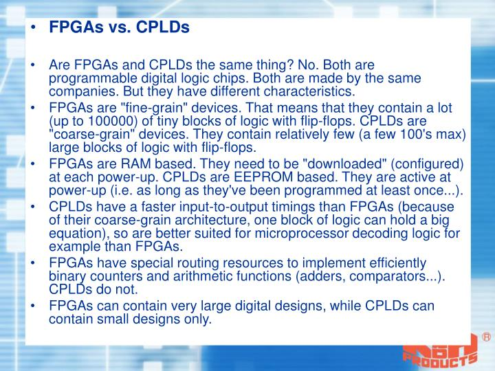 FPGAs vs. CPLDs