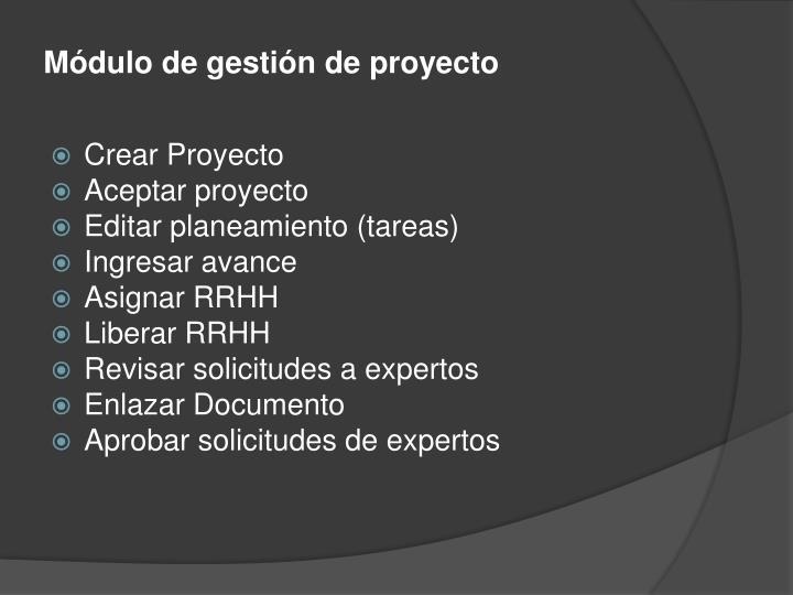 Módulo de gestión de proyecto