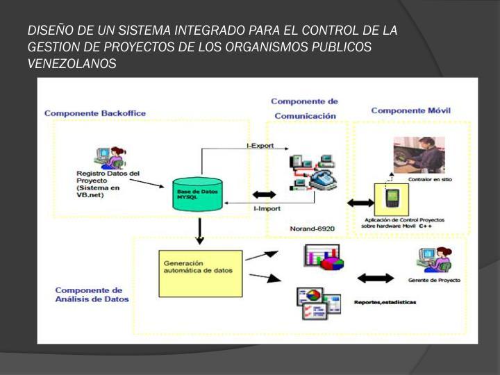 DISEÑO DE UN SISTEMA INTEGRADO PARA EL CONTROL DE LA GESTION DE PROYECTOS DE LOS ORGANISMOS PUBLICOS VENEZOLANOS