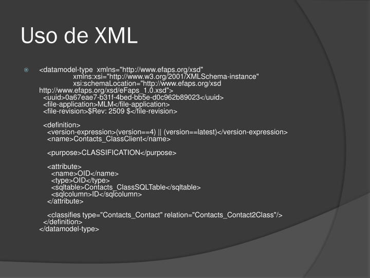 Uso de XML
