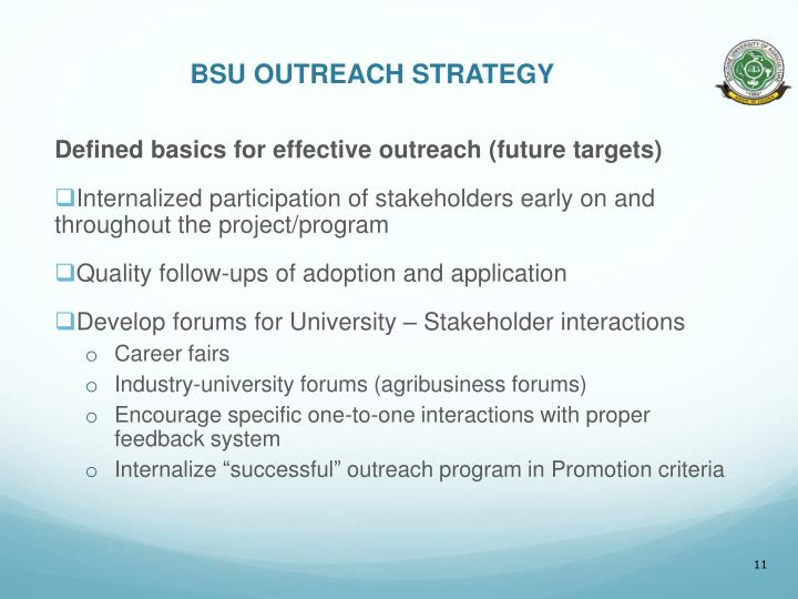 BSU OUTREACH STRATEGY