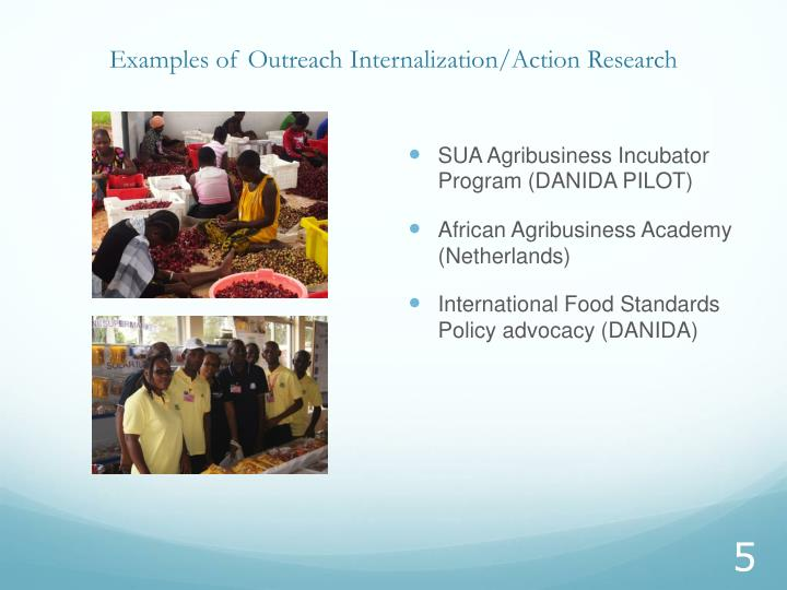 Examples of Outreach Internalization/Action Research