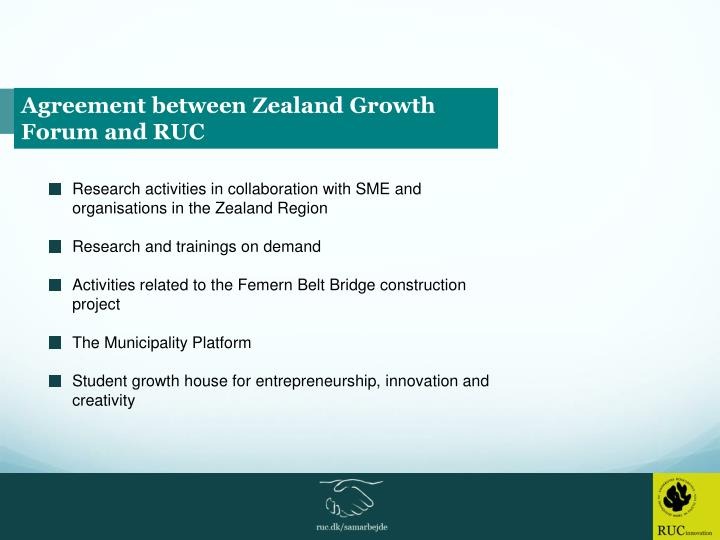 Agreement between Zealand Growth Forum and RUC
