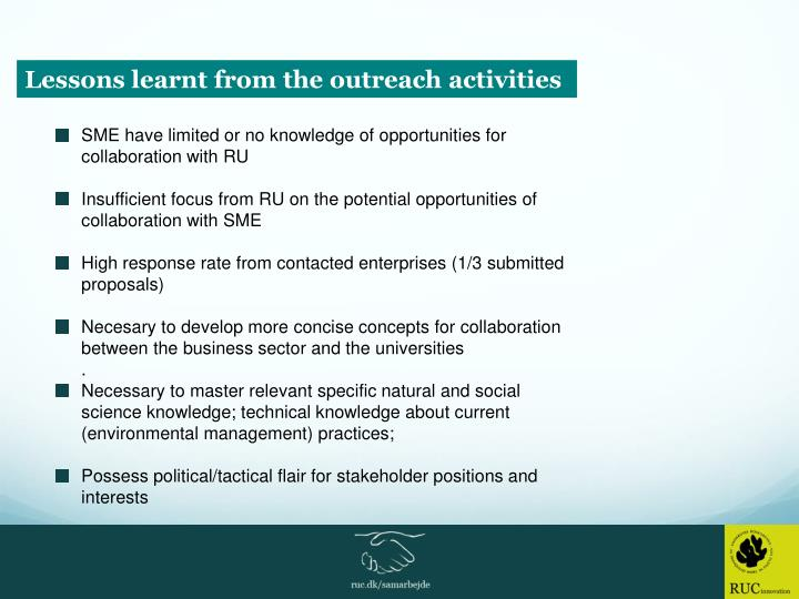Lessons learnt from the outreach activities