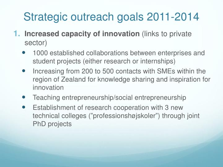 Strategic outreach goals 2011-2014