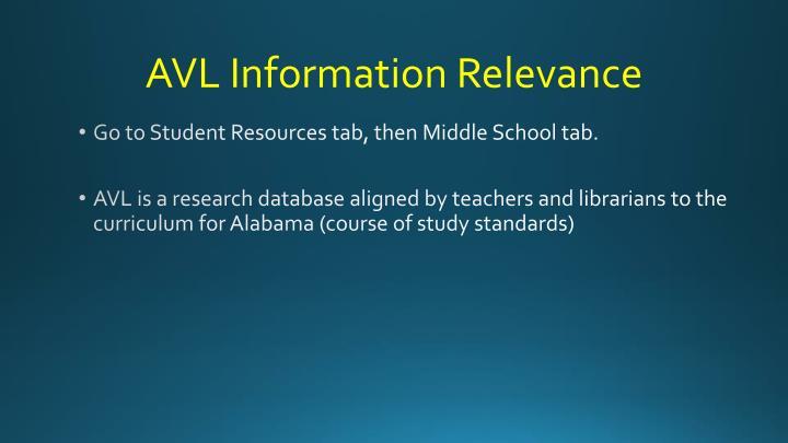 AVL Information Relevance