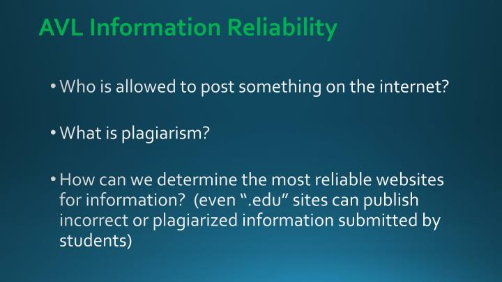 AVL Information Reliability