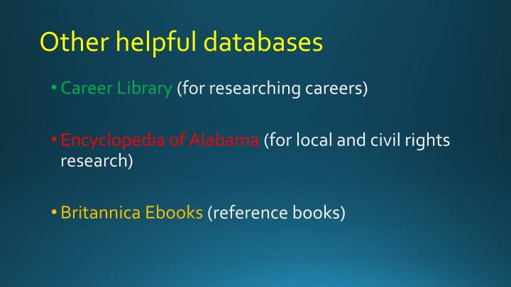 Other helpful databases