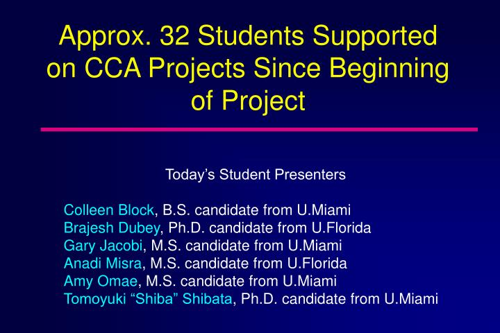 Approx. 32 Students Supported on CCA Projects Since Beginning of Project