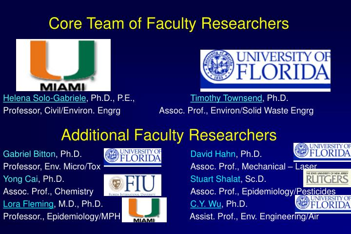 Core Team of Faculty Researchers