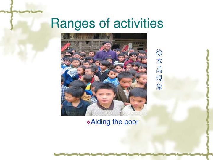 Ranges of activities