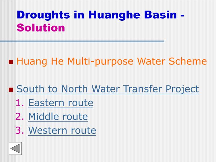 Droughts in huanghe basin solution