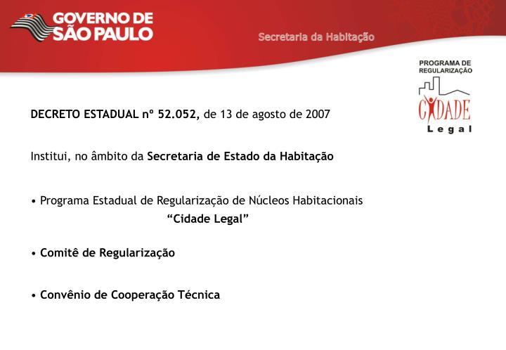 DECRETO ESTADUAL nº 52.052,