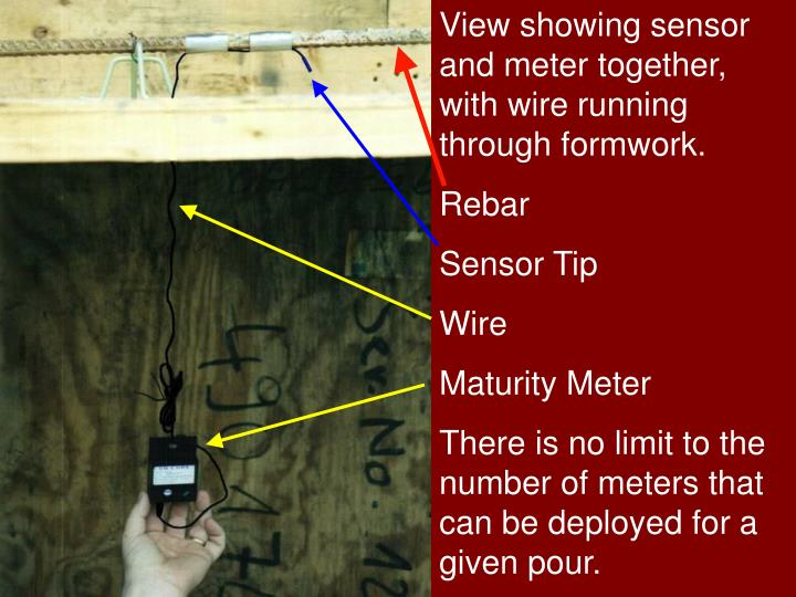View showing sensor and meter together, with wire running through formwork.