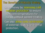 the benefits of maturity testing1