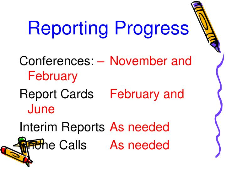 Reporting Progress