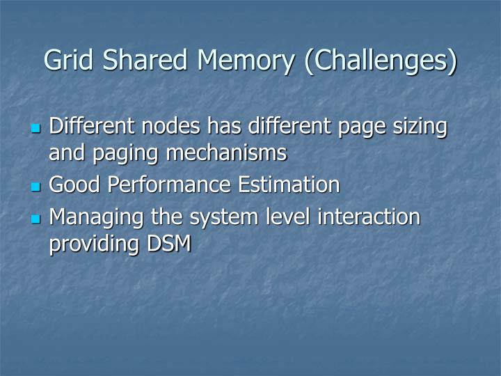 Grid Shared Memory (Challenges)