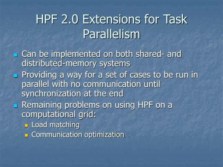 HPF 2.0 Extensions for Task Parallelism