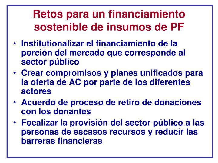 Retos para un financiamiento sostenible de insumos de PF