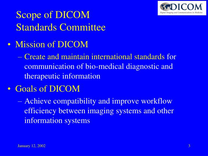Scope of dicom standards committee