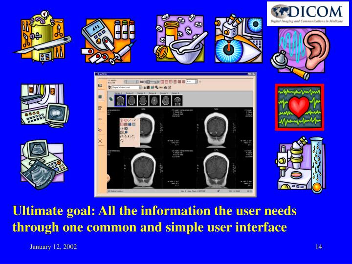 Ultimate goal: All the information the user needs through one common and simple user interface