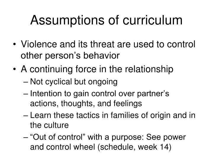 Assumptions of curriculum