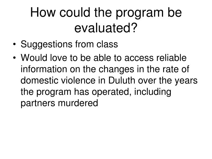 How could the program be evaluated?
