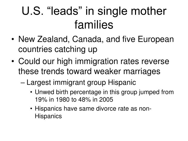 "U.S. ""leads"" in single mother families"